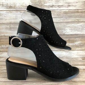 Nine West Black Suede Heel Cutout Open Toe Sandals